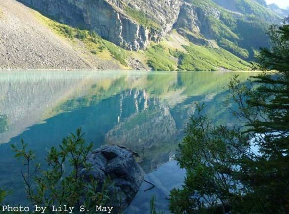 Reflections in Lake Louise, early evening, Sept. 2012