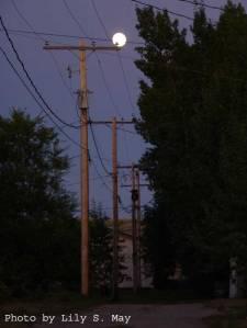 Full moon over Val Marie, Saskatchewan